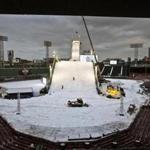 Boston, Ma-Feb. 9, 2016-Globe Staff Photo by Stan Grossfeld--Work crews put finishing touches on Big Air ramp at Fenway Park at nightfall.