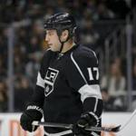 Los Angeles Kings' Milan Lucic stands on the ice during the first period of an NHL hockey game against the San Jose Sharks, Tuesday, Dec. 22, 2015, in Los Angeles. (AP Photo/Jae C. Hong)