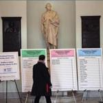 Examples of presidential primary ballots were displayed in the Massachusetts State House last month to inform voters.