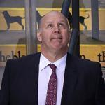 02/09/16: Boston, MA: The Bruins bench reflects the scene, as head coach Claude Julien watches the replay of the 8th goal of the game scored by the Kings on their way to a 9-2 victory. The Boston Bruins hosted the Los Angeles Kings in a regular season NHL hockey game at the TD Garden. (Globe Staff Photo/Jim Davis) section:sports topic:Bruins-Kings