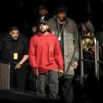 Kanye West (center) and Lamar Odom arrived at West's Yeezy Season 3 presentation and listening party for his new album, The Life of Pablo, during New York Fashion Week on Feb. 11.
