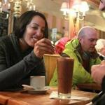 Cambridge, MA., 02/12/16, At L. A. Burdick Handmade Chocolates in Harvard Square, Rahima Dosani, and Rajid Malhotra, cq, enjoy warm drinks. Hot notions for a warm holiday. Valentine's Day will be cold, so here are some warm and cozy things to do. Suzanne Kreiter/Globe staff