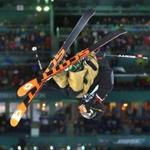 Boston-02/12/16 The freestyle ski World Cup finals of mens and ladies during the Big Air at Fenway Park. Mcrae Williams from USA upside down on his first jump. Boston Globe staff photo by John Tlumacki(sports)