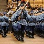 Graduates drilled during the 82nd Recruit Massachusetts State Police graduation in April 2016.