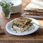 "Passover matzo ""lasagna"" with mushrooms and feta"