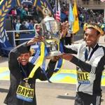 Boston-4/18/16- The finish line at the Boston Marathon. Mens winner Lemi Berhanu Hayleand and women's winner Atsede Baysa hold up a trophy at the finish line.Boston Globe staff Photo by John Tlumacki (sports)