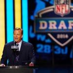 Apr 28, 2016; Chicago, IL, USA; NFL commissioner Roger Goodell announces the number one overall pick in the first round of the 2016 NFL Draft at Auditorium Theatre. Mandatory Credit: Jerry Lai-USA TODAY Sports