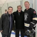 From left: Ken Casey, Bobby Orr, and Brian Leetch at the Claddagh Fund celebrity hockey tournament.