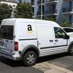 An Amazon truck made deliveries in Los Angeles, Calif.