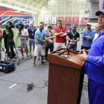 Buffalo Bills head coach Rex Ryan speaks to the media following an NFL football organized team activity in Orchard Park, N.Y., Tuesday, May 24, 2016. (AP Photo/Bill Wippert)