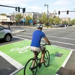 "A ""bike box"" in Brookline gives cyclists more room at traffic lights."