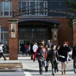 Students departed Boston Latin School earlier this year.