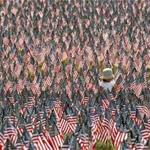 BOSTON, MA - 5/26/2016: Two year old Lynne Matsuoka of Boston walks through a garden of American flags. Remembering & Honoring our Massachusetts Heroes, nearly 37,000 American flags were placed on Boston Common to honor the sons and daughters of Massachusetts who fell in service to the United States from Revolutionary War to present day. (David L Ryan/Globe Staff Photo) SECTION: METRO TOPIC