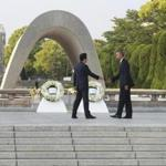 "President Barack Obama and Prime Minister Shinzo Abe of Japan take part in a wreath-laying ceremony at the Hiroshima Peace Memorial in Hiroshima, Japan, May 27, 2016. Obama's visit to Hiroshima was the first by a sitting U.S. president since the atomic bomb was dropped there during World War II. During the ceremony, Obama said the bombing of the city showed that ""mankind possessed the means to destroy itself."" (Doug Mills/The New York Times)"