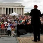 Presidential candidate Donald Trump highlighted the needs of veterans during a speech before the Rolling Thunder motorcycle rally at the Lincoln Memorial in Washington, D.C.