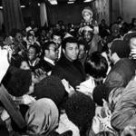 Muhammad Ali was mobbed by fans at Hynes Auditorium during his 1977 visit to Boston. (Globe Staff/File)