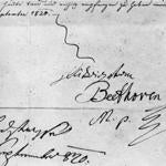 The signature of German composer Ludwig Van Beethoven on a letter dated September 1820.