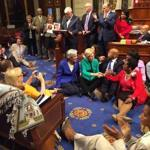 Representative Katherine Clark, Senator Elizabeth Warren, and Representative John Lewis were among those who took part in the sit-in on the House floor.