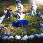 These garden gnomes were taken from a yard in Shirley.