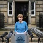 Scotland's First Minister and Leader of the Scottish National Party (SNP), Nicola Sturgeon, addresses the media after holding an emergency Cabinet meeting at Bute House in Edinburgh, Scotland on June 25, 2016, following the pro-Brexit result of the UK's EU referendum vote. The result of Britain's June 23 referendum vote to leave the European Union (EU) has pitted parents against children, cities against rural areas, north against south and university graduates against those with fewer qualifications. London, Scotland and Northern Ireland voted to remain in the EU but Wales and large swathes of England, particularly former industrial hubs in the north with many disaffected workers, backed a Brexit. / AFP PHOTO / OLI SCARFFOLI SCARFF/AFP/Getty Images