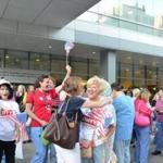 Nurses embraced one another and celebrated before reporting to work early Monday at Brigham and Women's Hospital.