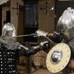 "Globe reporters David Filipov and Steve Annear try ""knight fit,"" a medieval armored combat training program based out of The Knights Hall in Nashua, New Hampshire. (Video by Alex Lancial, Globe Staff)"