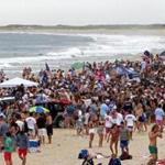 Nobadeer Beach on Nantucket's south shore drew an estimated 8,000 people, most of them college age on last Fourth of July. Police this year are discouraging young people from visiting, and plan aggressive enforcement of public drinking and trespassing laws.