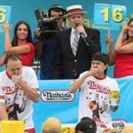 Nathan's Famous Fourth of July International Hot Dog Eating Contest last year featured competitors Joey Chestnut (left) and Matt Stonie.
