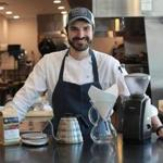 Aran Goldstein, chef at Concord's Saltbox Kitchen, travels with a coffee system.