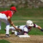 Nick Maiorisi tags out Thomas Crowley of the Lowell Junior Spinners last week. The Spinners prepare players for college baseball and the minor leagues.