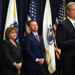 Mass. Governor Charlie Baker was joined by (left to right) MBTA Chief Operating Officer Jeff Gonneville, Secretary of Transportation Stephanie Pollack, and MBTA acting GM Brian Shortsleeve at a state house press conference Wednesday.