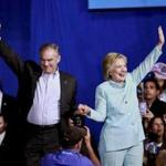 Hillary Clinton and her running mate, US Tim Kaine of Virginia, during a rally at Florida International University in Miami on Saturday.