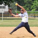 Madison Schaefer fires a pitch for East Coast Force at the USSSA Dudley College Showcase in East Hartford, Conn.