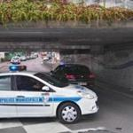 epa05441535 A municipal police vehicle blocks an underpass leaiing to the scene of a hostage taking incident in Saint Etienne du Rouvray, near Rouen, France, 26 July 2016. According to reports, two hostage takers were killed by the police after they took hostages at a church in Saint Etienne du Douvray. One of the hostages, a priest was killed by one of the perpetrators. EPA/ALICE PATALACCI