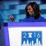 First lady Michelle Obama smiled during her speech Monday at the Democratic National Convention.