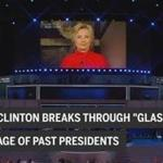 "Clinton shatters ""glass ceiling"" of male presidents in convention video"