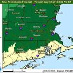 The National Weather Service is predicting about 2 inches of rain for much of Massachusetts Friday, with constant showers starting Thursday night and continuing throughout Friday.