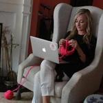 Christina Fagan, who founded a local knitting company, does some
