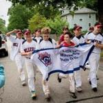 The Wellesley South Little League team celebrated after winning the state title at Morrison Field in Westwood.