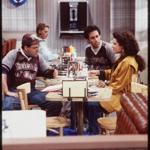 "NBC's ""Seinfeld"" cast: Jason Alexander, Jerry Seinfeld, and Julia Louis-Dreyfus."