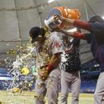 Aug 22, 2016; St. Petersburg, FL, USA; Boston Red Sox left fielder Andrew Benintendi (40) gets a gatorade and gum bath after they beat the Tampa Bay Rays at Tropicana Field. Boston Red Sox defeated the Tampa Bay Rays 6-2. Mandatory Credit: Kim Klement-USA TODAY Sports