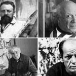 Top: Henri Matisse (left) and Pablo Picasso. Bottom: Willem de Kooning (left) and Jackson Pollock.