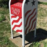 A mailbox in Newbury allows residents to drop off their old or damaged American flags to be disposed of in a proper manner.