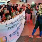 Judo Olympian Kayla Harrison was taken by surprise as fans greeted her.