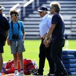 Foxborough, MA - 8/24/2016 - New England Patriots head coach Bill Belichick with New England Patriots owner Robert Kraft and Rock singer Jon Bon Jovi and his son Romeo at today's Patriots practice in Foxborough. - (Barry Chin/Globe Staff), Section: Sports, Reporter: Jim McBride, Topic: 25Patriots, LOID: 8.2.4058909563.