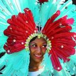 Natalia Brown wore aqua feathers in her headdress.