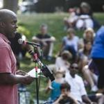 Tendai Musikavanhu spoke during a solidarity gathering for him and his family in Wellesley.