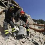 Firefighters retrieved a bell Sunday from a church in the small town of Rio, near Amatrice, in central Italy.
