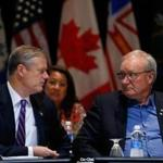 Governor Charlie Baker spoke with Premier Wade MacLauchlan of Prince Edward Island during a panel discussion Monday at the Hynes Convention Center.