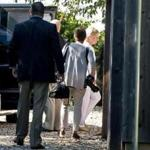 Hillary Clinton arrived for a private fund-raiser Tuesday at a Sagaponack, N.Y., home.